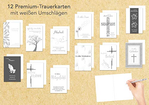 Edition Seidel Set 12 einfühlsame Premium-Trauerkarten mit Silber-Prägung/Beileidskarten mit Umschlag. Trauerkarte Beileidskarte mit Spruch