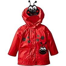 FEOYA Impermeable Chubasquero Niñas Ropa Chaqueta de Lluvia con Capucha Animal para Niños bebés - rojo - talla 1 2 3 4 5 6 años