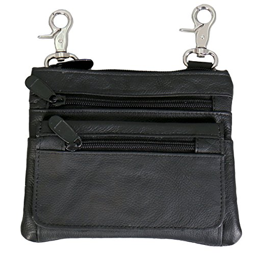 LADIES LEATHER CLIP POUCH PURSE with Cell Pocket, Adjustable Strap