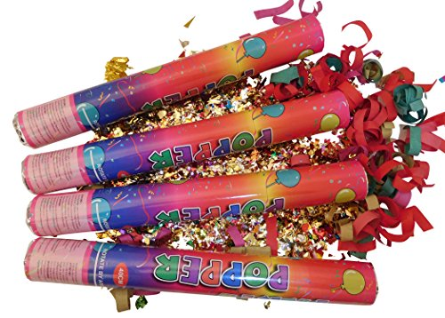 GW Handels UG Set 4 Konfettikanonen Karneval 40 cm Party Popper Konfettishooter bunt Konfetti Knaller Konfettibombe Hochzeit Geburtstag Partykanonen