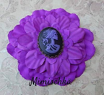 pince à cheveux fleur violette camée squelette hair clip purple flower cameo skeleton