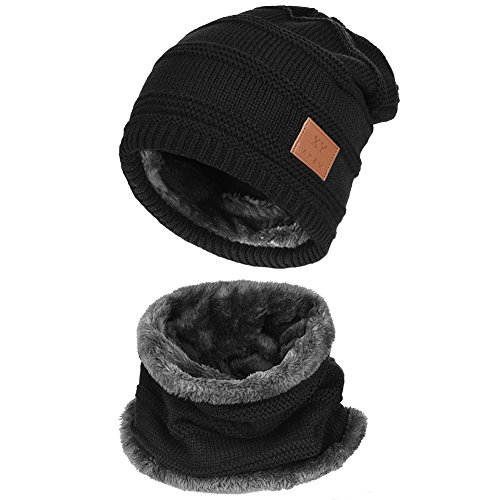 Vbiger Warm Knitted Hat and Circle Scarf Skiing Hat Outdoor Sports Hat Sets (Black+)