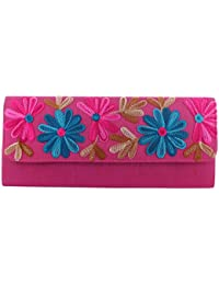 Mela Kashmiri Embroidered, Exclusive, Traditional, Ethnic Women`s Clutch-Magenta