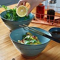 Tazón de cerámica Tazas de cerámica creativa Cuenco de sopa de cuenco de arroz azul nórdico cuenco de fideos instantáneos
