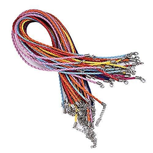 Hosaire 20X Collier Multicolore Imitation en Cuir Cordon Cire Colliers Tresse avec Fermoir Mousqueton -Couleur mixte aléatoire