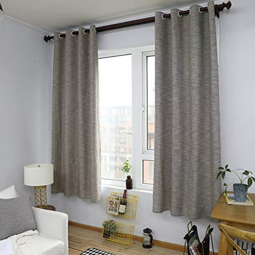 GZ-curtain Einfache Moderne halb Verdunkelungsvorhänge - Erker Schlafzimmer Schlafzimmer Boden bis zur Decke Wohnzimmer Baumwolle und Leinen Kaffee Vorhang 140 * 215cm