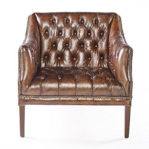 Phoenixarts Chesterfield Ledersessel Braun Vintage Antik Look Sessel Lounge Leder Clubsessel mit...
