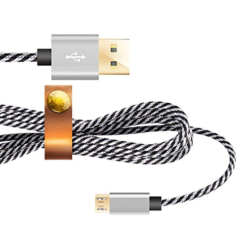 Micro USB Kabel[Micro USB Schnellladekabel],Nylon Datekabel 2m USB Ladekabel,Dimi High Speed Sync und Ladekabel USB Kabel für Android,Samsung,Huawei,HTC,Sony,Nexus, Xiaomi und mehr, Schwarz/Weiß (Stromkabel Kindle Lang)