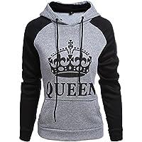 Tomwell Hombre Y Mujer Moda King Queen Impresión Sudaderas con Capucha Manga Larga Pullover Camisas Jersey