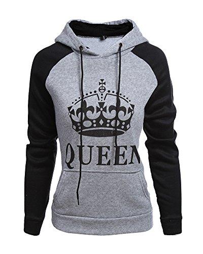 Tomwell King Queen Pullover Coppia Manica Lunga Felpe Oro Cotone Corona Stampa Sweatshirt Donna Uomo Lovers Shirt con Tasche B-Queen Grigio