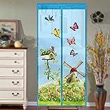 HOMYY Magnetischer Tür-Vorhang mit Magic Fliegen Tür mit Netz-Hut mit Moskito-hands-free bug-proof top-to-bottom mit einfacher Einbau-Spitze, blau, 90cm x 210cm