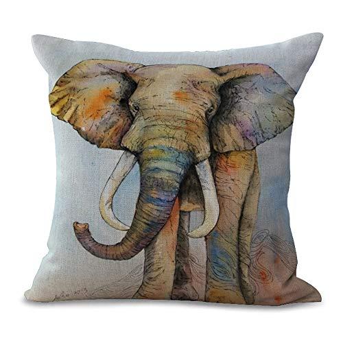 JUNMAONO Fundas de Cojin Fundas de Almohada Cuadrada Decoración del Hogar Pillow Cover Pintura de Elefante Imprimiendo Pillowcase para Sofá Cama Sillas Dormitorio Coche 45cm x 45cm/18' x 18' (C)