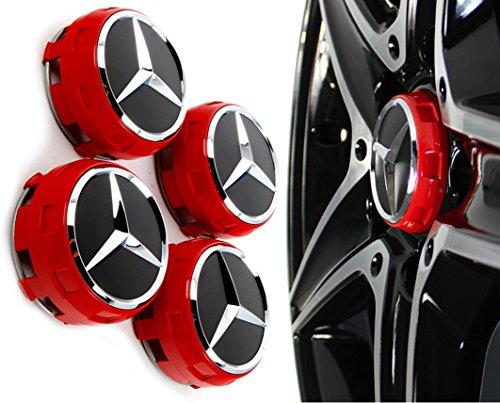 mercedes-rojo-amg-alloy-wheel-centre-caps-x-nuevo-elevador-de-centro-estilo