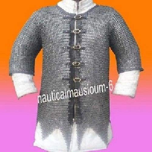 NASIR ALI Chainmail-Shirt-10-mm-Flat-Ring-Alt-Solid-Ring-Dome-Riveted-Front-Open-Shirt-X-L