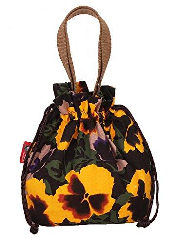 Fortuning's JDS® Stampe della tela di canapa di vendita calda donne coulisse borsa secchiello tote fiori gialli