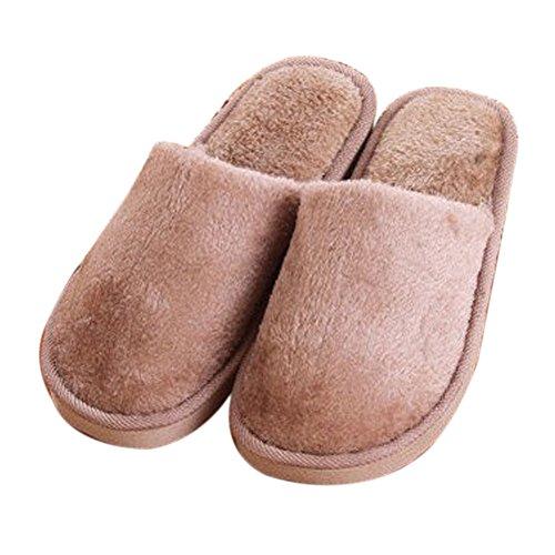 Baumwolle Hausschuhe – Lange Plüsch, warm, leicht, Anti-Rutsch-Gummisohle, Winterschuhe für Zuhause/Indoor/Outdoor/Schlafzimmer, Coffee, 42-43 ()