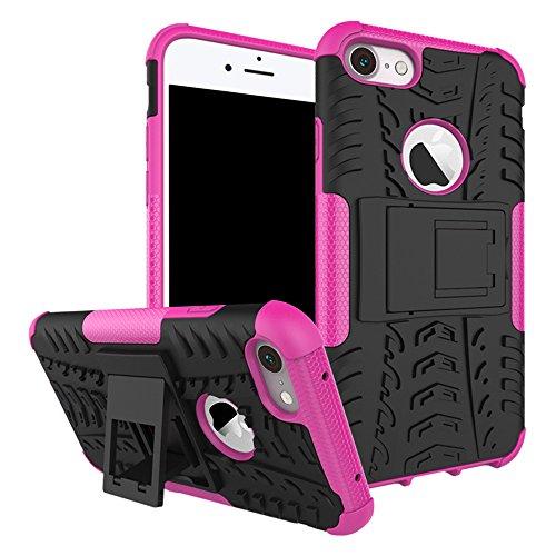 iPhone 8 Hülle,Valenth Hybrid Dual Layer-Schutzschicht zurück Hülle Stoß- Abdeckung für iPhone 8-Schwarz Rosa