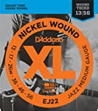 D'Addario EJ22 Cordes en Nickel pour Guitare Électrique, Jazz Medium, 13-56