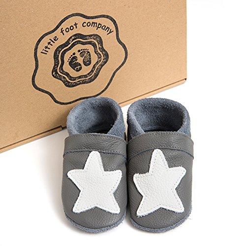little foot company®, handgemachte Markenqualität aus Deutschland, weiches Komfortleder, Krabbelschuhe, Babypuschen in steingrau