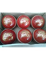 Spacetouch - 12 palline da cricket in pelle cucita a mano, 4 tagli, adatte per mazze da cricket