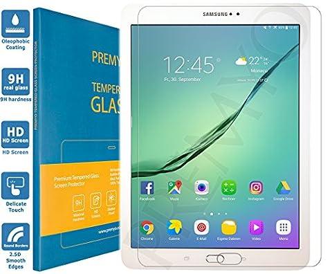 PREMYO verre trempé Galaxy Tab S2 9.7. Film protection Samsung Galaxy Tab S2 9.7 avec un degré de dureté de 9H et des angles arrondis 2,5D. Protection écran Tab S2