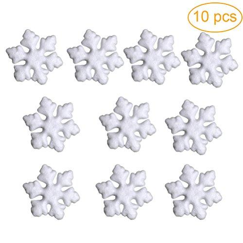 Toyvian Ornamenti di Polistirolo a Forma di Fiocco di Neve Bianco Giocattoli di Natale Artigianali Fai da Te 10PCS