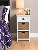 Ella White 3 Drawer Bedside with sea grass baskets FULLY ASSEMBLED Homebase(H)80, (W)33, (L)40cm Bedroom Furniture Solutions
