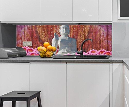 Küchenrückwand Weiß Sitzende Buddha-Statue Nischenrückwand Spritzschutz Design M0688   160 x 50cm (B x H)   Aluminium gebürstet 3mm