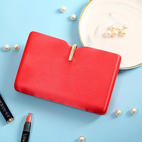 MYJ Simulation Seide Umhängetasche Abendessen Kleid Messenger Bag Süße Dame Handtasche,Rot,A