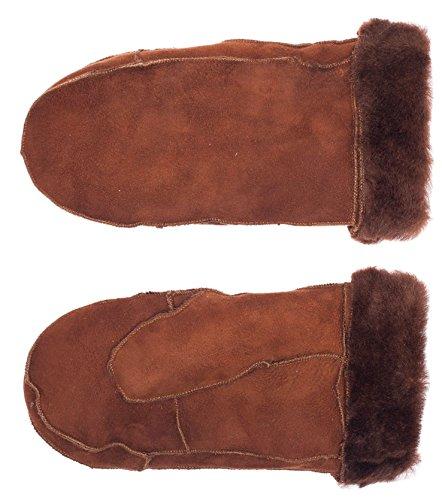 Didso Damen Faust Handschuhe Fäustling aus Lammfell, warm, klassisch, günstig, reduziert, Cognac S