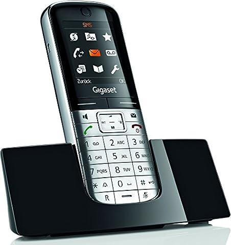 Gigaset SL350H Schnurlostelefon (TFT-Farbdisplay, Dect-Telefon, Freisprechen, Einfaches Telefon für Router) metall/pianoschwarz
