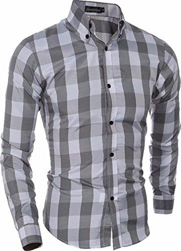 Jeansian Hommes Fashion Classique Shirt Chemises Casual Manches Longues Men's Slim Fit Plaid Lapel Shirts Tops 84G6 gray