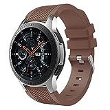 MuSheng For Samsung Galaxy Watch 46MM Armband Band,Fashion Fitness Weicher Silikon Ersatz Band Bügel Armband für Samsung Galaxy Watch 46MM (Kaffee)