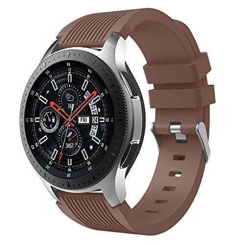 Takkar 22mm Silikon Uhrenarmband - sicher für die menschliche Haut - weich und absolut angenehm zu tragen - kompatibel für Samsung Gear S3 Frontier Classic, Galaxy Watch 46mm, Ticwatch Pro (Kaffee) (Die Für Haut Kaffee)