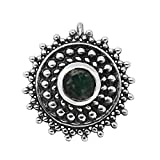 #8: Shine Jewel 925 Sterling Silver Oxidized Silver With Green Cubic Zirconia Nose Pin For Women's
