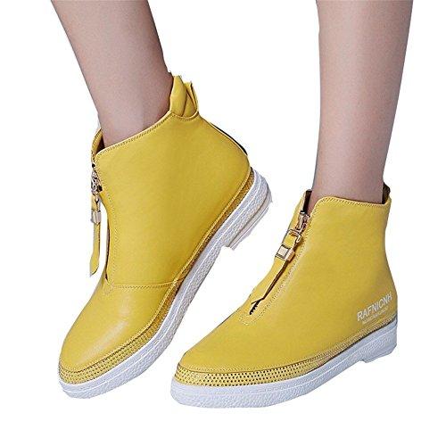 HOMEE Women 'S Casual Stiefel Zipper Heel kurze Stiefel niedrige Stiefel,37 Eu,Gelb (Heel Womens Heels Casual)