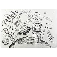 alles-meine.de GmbH Mal & Bastel & Knet - Unterlage / Schreibtischunterlage - Weltraum - Planeten & Raumschiff - 48 cm * 34 cm - zum bemalen anmalen - Platzdeckchen - abwischbar ..