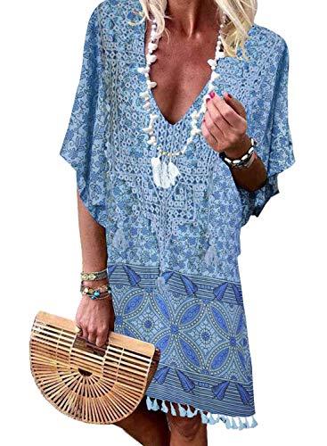 Dearlove Damen-Bikini, V-Ausschnitt, Schulterpartie, Chiffon, Badeanzug - blau - Large (Badeanzug Junior Cover Ups)