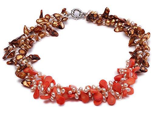 jyx dreireihigen Pink Süßwasserperle, Kaffee Barock Pearl und Pink seed-shaped Coral - Kaffee-pakete Individuelle