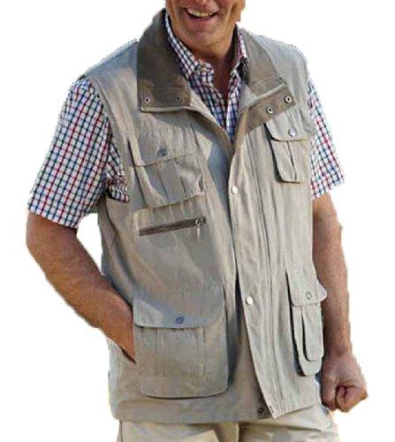 Pour la pêche et le tir, Chasse randonnée Safari Bodywarmer Gilet sans manches Beige - Stone