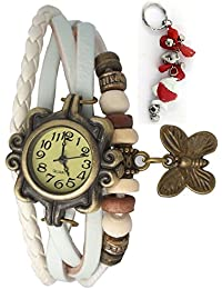 RTimes Vintage Butterfly Bracelet Wrist Watch for Women with Girl's Key Chain - White girl's watch
