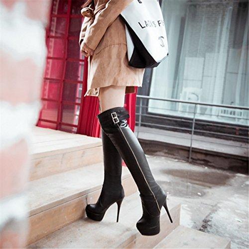 YE Damen High Heels Plateau Overknee Stiefel mit Rote Sohle Stiletto Schnallen Kniehoch Boots Schwarz