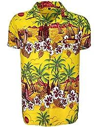 Para hombre hawaiano camisa playa de ciervo Hawaii Aloha fiesta vacaciones de verano ...
