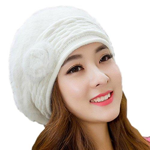 Finejo Women's Winter Warm Knitted Real Fur Hats Beanie Cap 5 Colors