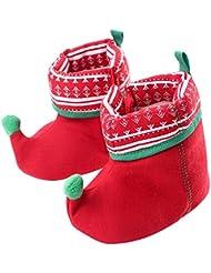 Free Fisher Botas para bebé Navidad Zapatos Respingados de Santo Primer Paso Zapatillas de Nieve Patucos Infantiles Algodón Deslizante Cálido Invierno, Rojo Verde Suela 13cm