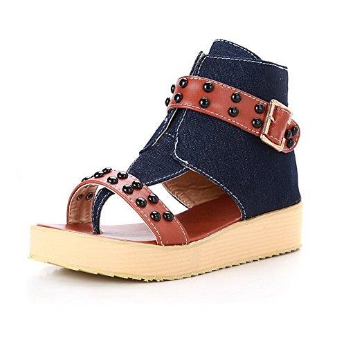 Odomolor Damen Reißverschluss Blend-Materialien Gemischte Farbe Zehentrenner Sandalen Dunkelblau