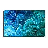 WYKUN Reines handgemaltes Ölgemälde, rahmenlose modernistische dekorative Malereien für Wohnzimmer, minimalistische Blaue Wand-Malereien abstrakt,Blue_16in*24in