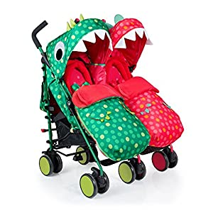 Cosatto Supa Dupa Double/Twin Stroller, Suitable from Birth, Dinomee and Mo Kids Kargo The carrycot when converted to seat unit, can be rear or forward facing. Versatile. Suitable for Newborn and toddler: Carrycot with mattress and soft lining, which zip off. Remove lining and lid, when baby grows out of carrycot mode. Converts to a full sized seat unit, with 5 point harness. Bucket seat unit for toddler or baby over 6 months sits in forward facing bottom position , or forward and rear facing at the top, if car seat used at the bottom. 10