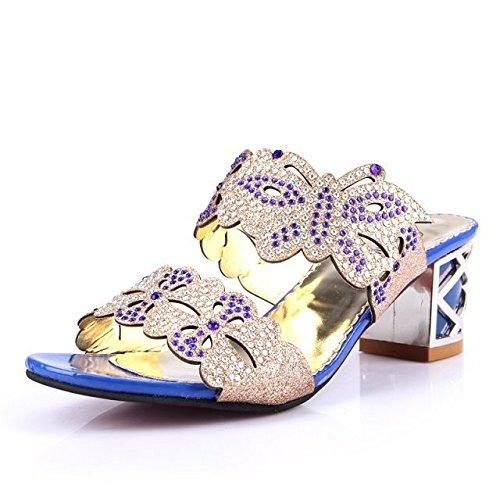 Elegante E Confortevole, Le Donne, I Sandali, Nobile E Generoso, Estate Fuori Moda Sandali.,Signora Sandali,Dama Sandali Sapphire blue,