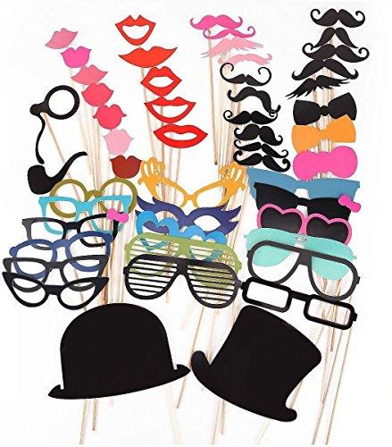 51 Tlg. 7 Bunde wold Party Foto Verkleidung Schnurrbart Lippen Brille Krawatte Hüten Photo Booth Props Set SPZ015